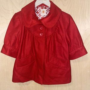 TULLE Crop Coat 3/4 Sleeve Red Wool Blend  Size: M